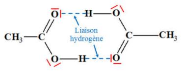 Exemple de formation de liaisons hydrogène entre deux molécules